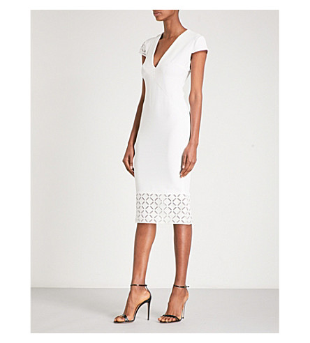 ROLAND MOURET Selwin fitted cotton-blend midi dress (White