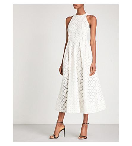 ROLAND MOURET Baldry devoré cotton and silk-blend midi dress (White
