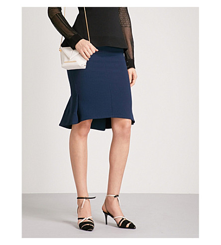 ROLAND MOURET Nash wool-crepe skirt (Dusty+charcoal