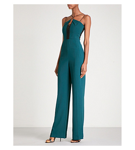 ROLAND MOURET Malvern embroidered tulle and stretch-crepe jumpsuit (Pine+green/blk