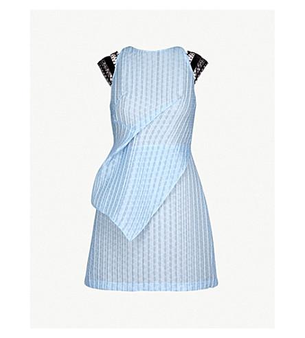 ROLAND MOURET Torrens lace-trim organza mini dress (Ice blue