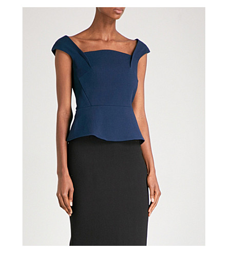 ROLAND MOURET Abbey wool-crepe top (Dusty+charcoal