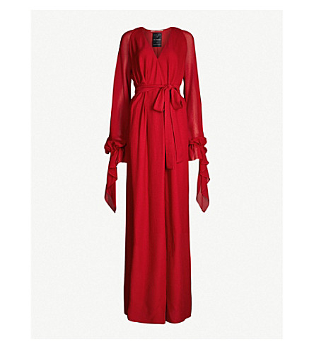 ROLAND MOURET Swanson self-tie silk-crepe gown (Persian red