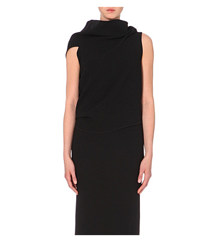 ROLAND MOURET Eugene cowl-neck wool-crepe top (Black