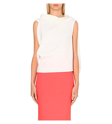 ROLAND MOURET Eugene cowl-neck wool-crepe top (White