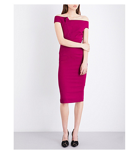 ROLAND MOURET Monamy off-the-shoulder stretch-crepe dress (Magenta