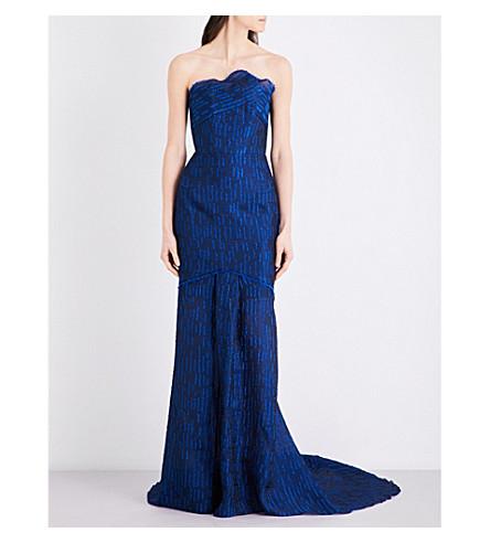 ROLAND MOURET Turret strapless gazar cloqué gown (Royal+blue