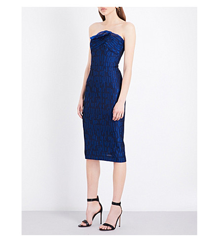 ROLAND MOURET Senga strapless cloqué dress (Royal+blue
