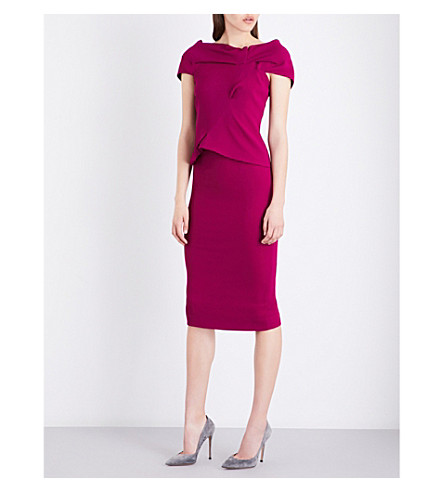 ROLAND MOURET Balvern stretch-crepe dress (Magenta