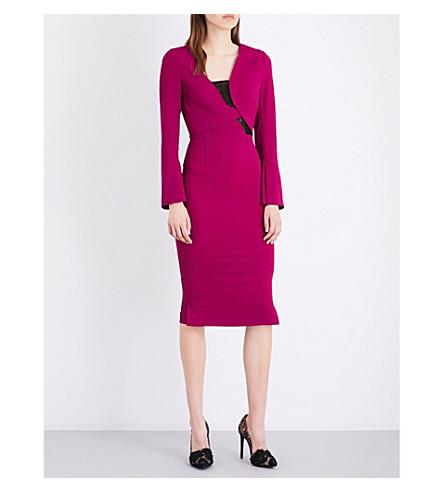 ROLAND MOURET Ormond stretch-crepe dress (Magenta
