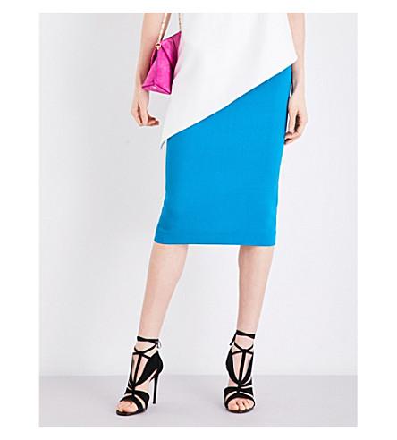ROLAND MOURET Arreton wool-crepe pencil skirt (Cyan