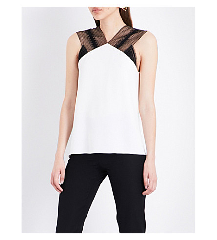 ROLAND MOURET Dave stretch-crepe top (White