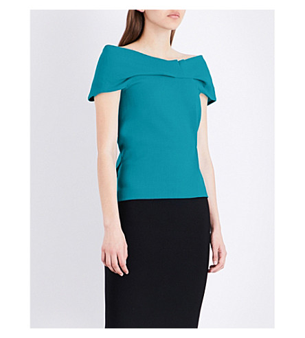 ROLAND MOURET Trebeck off-the-shoulder wool top (Cyan