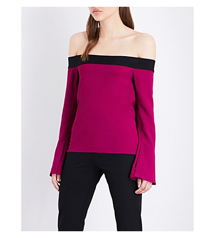 ROLAND MOURET Heany off-the-shoulder crepe top (Magenta