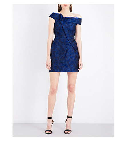 ROLAND MOURET Herland silk-blend dress (Royal+blue