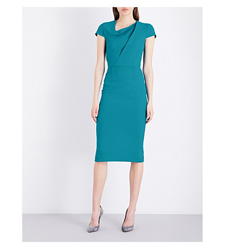 ROLAND MOURET Burfield wool dress (Cyan