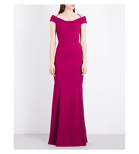 ROLAND MOURET Kirkby crepe gown (Magenta