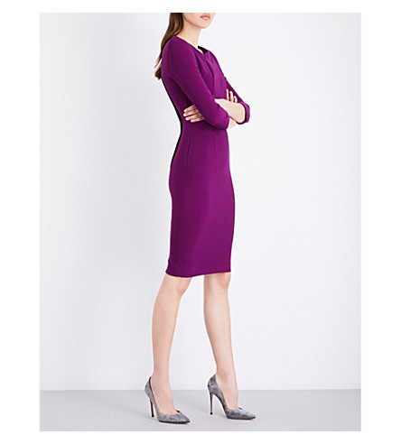 ROLAND MOURET Ashby stretch-crepe dress (Aubergine