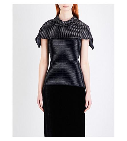 ROLAND MOURET Collier wool-blend top (Black/gold