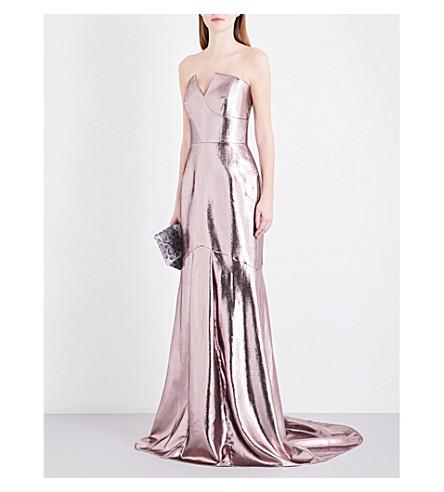 ROLAND MOURET Brenner metallic off-the-shoulder gown (Rose