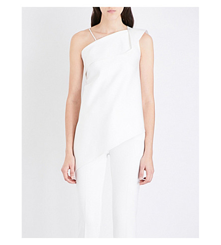 ROLAND MOURET Asymmetric-neck satin top (White
