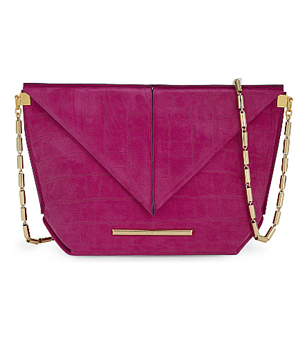 ROLAND MOURET Classico suede cross-body bag (Orchid pink