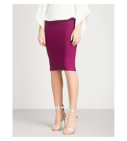 ROLAND MOURET May woven pencil skirt (Cerise