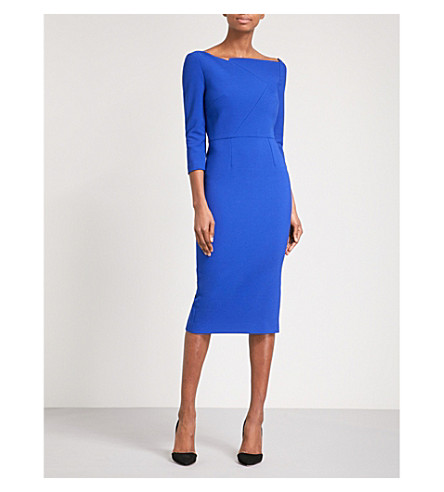 ROLAND MOURET Witham crepe midi dress (Cobalt+blue