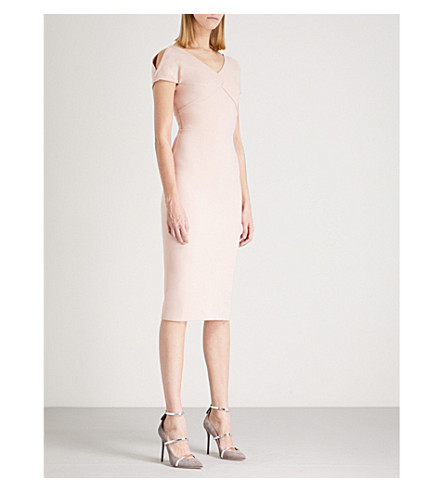 ROLAND MOURET Felmersham cold-shoulder crepe dress (Pale+pink