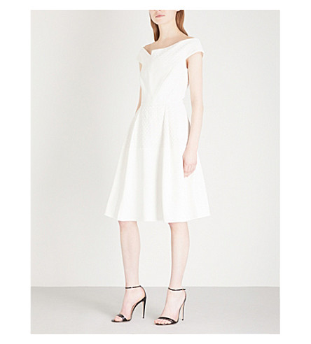 ROLAND MOURET Averley crepe and woven dress (White