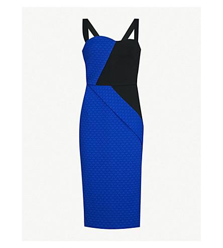 ROLAND MOURET Hutton sleeveless crepe dress (Blk/cobalt+blue