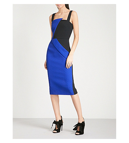 ROLAND MOURET Hutton sleeveless crepe dress (Blk/cobalt+blue