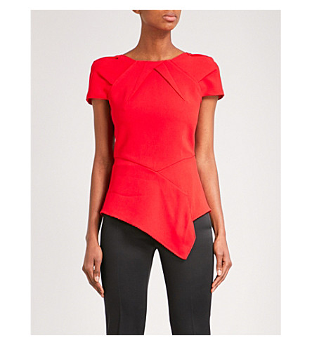 ROLAND MOURET Bracknell crepe top (Poppy+red