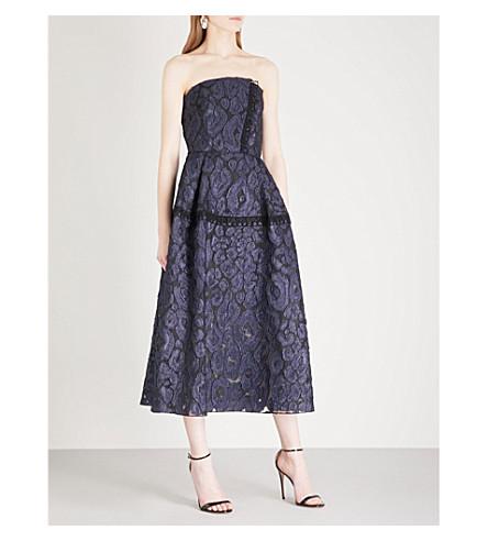 ROLAND MOURET Lydney strapless jacquard dress (Navy/+blk