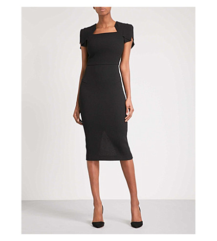 ROLAND MOURET Royston fitted wool-crepe midi dress (Blk