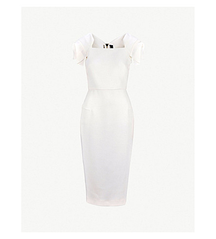 ROLAND MOURET Royston fitted wool-crepe midi dress (White