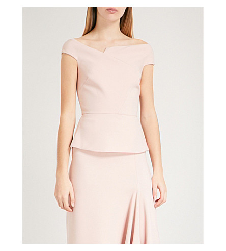 ROLAND MOURET Elmswell off-the-shoulder crepe top (Pale+pink
