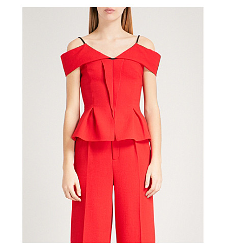 ROLAND MOURET Stotford cold-shoulder wool top (Poppy+red