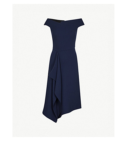 ROLAND MOURET Barwick fit-and-flare wool-crepe dress (Navy