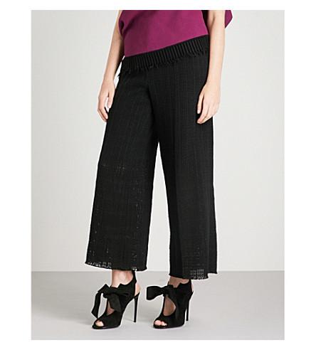 ROLAND MOURET Broadgate wide-leg cotton-crotchet trousers (Blk