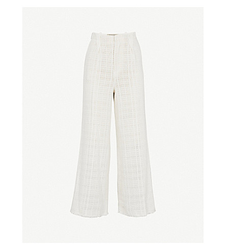ROLAND MOURET Broadgate wide-leg cotton-crotchet trousers (White