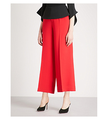 ROLAND MOURET Broadgate wide-leg wool trousers (Poppy+red