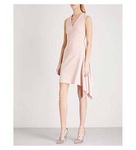 ROLAND MOURET Aylsham V-neck fit-and-flare crepe dress (Pale+pink