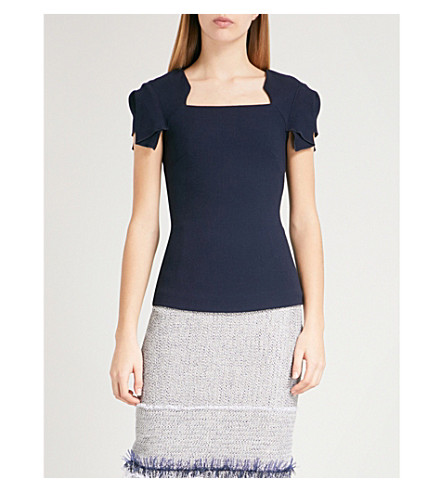 ROLAND MOURET Darfield wool-crepe top (Navy