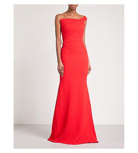 ROLAND MOURET Lockton one-shoulder wool-crepe gown (Poppy+red