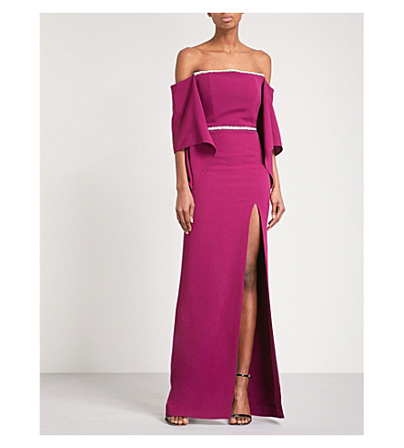 ROLAND MOURET Octon off-the-shoulder crepe gown (Cerise/gunmetal