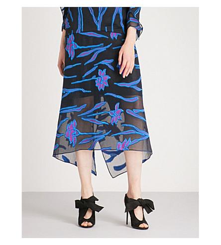 ROLAND MOURET Hilston floral fil-coupé midi skirt (Blk+multi
