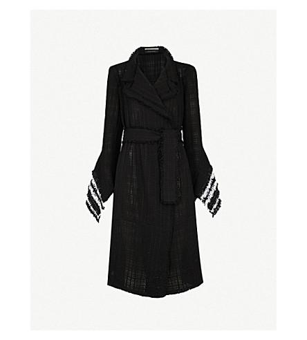 ROLAND MOURET Millington woven cotton coat (Blk/white