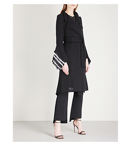 ROLAND MOURET Millington woven cotton coat (Blk/white