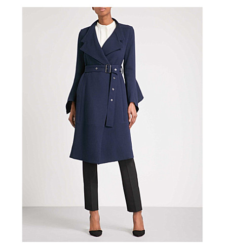 ROLAND MOURET Millington wool-crepe coat (Navy